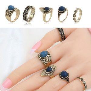 Golden Blue Gems Ring Set